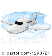 Clipart Of A Flying Chartered Plane Royalty Free Vector Illustration