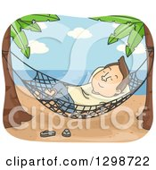 Cartoon Brunette White Man Relaxing In A Hammock On A Tropical Beach