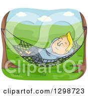 Clipart Of A Cartoon Blond White Man Relaxing In A Hammock In A Meadow Royalty Free Vector Illustration