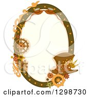 Clipart Of An Oval Steampunk Frame With Gears Goggles And A Hat Royalty Free Vector Illustration