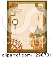 Clipart Of A Steampunk Border With Gears Pipes And Gauges Royalty Free Vector Illustration