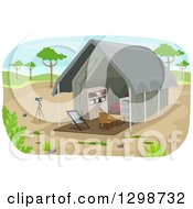 Clipart Of A Safari Lodge Tent And Camera On A Tripod Royalty Free Vector Illustration