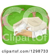 Clipart Of A Lounge Tent In The Woods Royalty Free Vector Illustration
