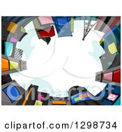 Clipart Of A View Looking Up Of A Circle Of Buildings With Jumbotrons Against A Day Sky Royalty Free Vector Illustration
