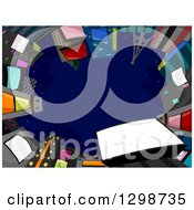 Clipart Of A View Looking Up Of A Circle Of Buildings With Jumbotrons Against A Night Sky Royalty Free Vector Illustration