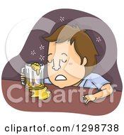 Clipart Of A Cartoon Brunette White Man Drunk Sleeping At A Bar Royalty Free Vector Illustration