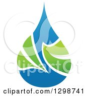 Clipart Of A Blue Water Drop And Green Leaf Ecology Design 5 Royalty Free Vector Illustration