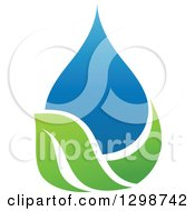 Clipart Of A Blue Water Drop And Green Leaf Ecology Design 6 Royalty Free Vector Illustration