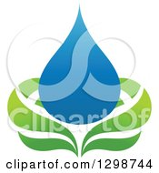 Clipart Of A Blue Water Drop And Green Leaf Ecology Design 8 Royalty Free Vector Illustration by elena