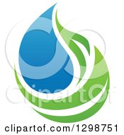 Clipart Of A Blue Water Drop And Green Leaf Ecology Design 14 Royalty Free Vector Illustration