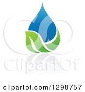 Clipart Of A Blue Water Drop And Green Leaf Ecology Design With A Reflection 6 Royalty Free Vector Illustration by elena