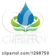 Clipart Of A Blue Water Drop And Green Leaf Ecology Design With A Reflection 8 Royalty Free Vector Illustration by elena