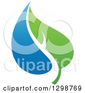 Clipart Of A Blue Water Drop And Green Leaf Ecology Design 15 Royalty Free Vector Illustration by elena
