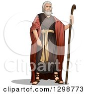 Clipart Of The Prophet Moses Standing With A Staff Royalty Free Vector Illustration
