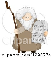 Clipart Of The Prophet Moses Standing With A Staff And The Ten Commandments Royalty Free Vector Illustration by Liron Peer