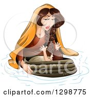 Clipart Of Jochebed The Mother Of Moses Putting The Baby In A Basket On The River Royalty Free Vector Illustration by Liron Peer