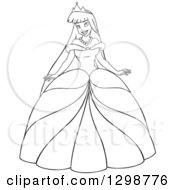 Clipart Of A Lineart Black And White Beautiful Young Asian Princess In A Ball Gown Dress Royalty Free Vector Illustration