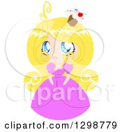 Clipart Of A Blond White Cupcake Princess Wearing A Pink Dress Royalty Free Vector Illustration by Liron Peer