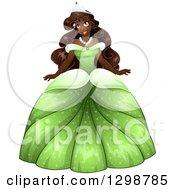 Beautiful African Princess Wearing A Green Ball Gown