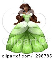 Clipart Of A Beautiful African Princess Wearing A Green Ball Gown Royalty Free Vector Illustration