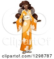 Clipart Of A Beautiful Young African Woman Wearing An Orange Floral Kimono Royalty Free Vector Illustration by Liron Peer