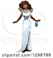 Clipart Of A Beautiful Young African Woman Wearing A White Evening Gown Royalty Free Vector Illustration