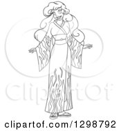 Clipart Of A Black And White Lineart Beautiful Young African Woman Wearing A Flame Kimono Royalty Free Vector Illustration by Liron Peer