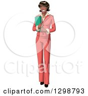 Clipart Of A Happy Beautiful African American Business Woman In A Pink Suit Royalty Free Vector Illustration by Liron Peer