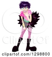 Happy Gothic White Woman With Purple Hair Bending Over And Doing The Rock On Sign