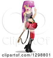 Happy Gothic White Woman With Pink Hair Holding A Guitar And Gesturing The Rock On Sign