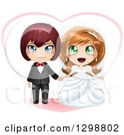 Clipart Of A Red Haired White Groom And Dirty Blond Bride Wedding Couple With A Heart Royalty Free Vector Illustration