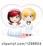Clipart Of A Red Haired White Bride And Blond Groom Wedding Couple With A Heart Royalty Free Vector Illustration