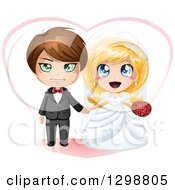 Clipart Of A Brunette White Groom And Excited Blond Bride Wedding Couple With A Heart Royalty Free Vector Illustration