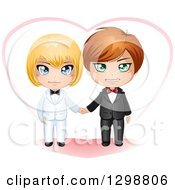 Clipart Of A Happy Caucasian Gay Wedding Couple Holding Hands In Front Of A Heart Royalty Free Vector Illustration
