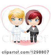 Clipart Of A Happy White Gay Wedding Couple Holding Hands In Front Of A Heart Royalty Free Vector Illustration