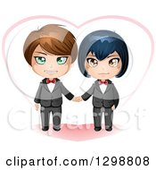 Happy Caucasian And Asian Gay Wedding Couple Holding Hands In Front Of A Heart