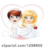 Clipart Of A Caucasian Brides Lesbian Wedding Couple Holding Hands In Dresses In Front Of A Heart Royalty Free Vector Illustration by Liron Peer