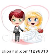 Clipart Of A Caucasian Brides Lesbian Wedding Couple Holding Hands In Front Of A Heart Royalty Free Vector Illustration