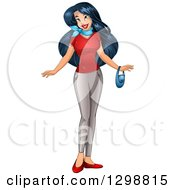 Clipart Of A Beautiful Young Asian Woman Wearing A Red T Shirt And Pants Royalty Free Vector Illustration by Liron Peer