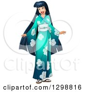 Clipart Of A Beautiful Young Asian Woman Wearing A Floral Kimono Royalty Free Vector Illustration by Liron Peer