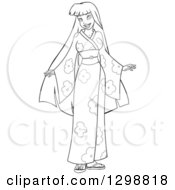 Clipart Of A Lineart Black And White Beautiful Young Asian Woman Wearing A Floral Kimono Royalty Free Vector Illustration by Liron Peer