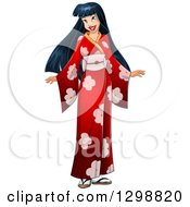 Clipart Of A Beautiful Young Asian Woman Wearing A Red Floral Kimono Royalty Free Vector Illustration