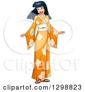 Clipart Of A Beautiful Young Asian Woman Wearing An Orange Floral Kimono Royalty Free Vector Illustration by Liron Peer