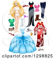 Clipart Of A Blond White Woman With Dresses And Accessories Royalty Free Vector Illustration