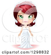 Clipart Of A Green Eyed Red Haired White Bride In Her Wedding Gown Royalty Free Vector Illustration