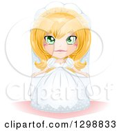Clipart Of A Green Eyed Blond White Bride In Her Wedding Gown Royalty Free Vector Illustration by Liron Peer