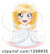 Clipart Of A Surprised Blue Eyed Blond White Bride In Her Wedding Gown Royalty Free Vector Illustration by Liron Peer