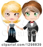 Clipart Of A Blond White Woman In A Black Evening Gown Holding Hands With A Brunette Man In A Formal Tuxedo Royalty Free Vector Illustration by Liron Peer