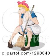 Exhausted Blond White Woman Sitting On A Bucket And Resting With A Broom While Spring Cleaning