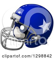 Clipart Of A Shiny Blue American Football Helmet With Stars Royalty Free Vector Illustration
